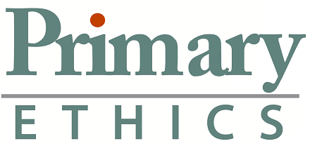 Primary Ethics Logo grey and orange no tag line small cropped