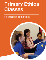An image of the front cover of our families for flyer which shows an ethics teacher with her class